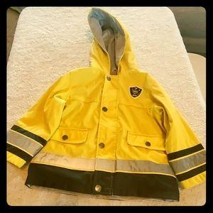 Oshkosh fire rescue  yellow raincoat boys size 4